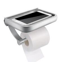 Homemaxs montagem na parede suporte de papel higiênico suporte de papel tecido alumínio rolo higiênico dispenser com telefone prateleira armazenamento do banheiro a20