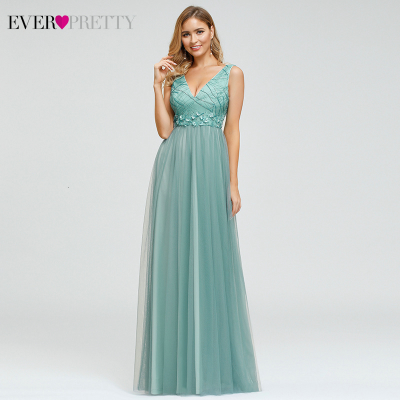 Elegant Floral Evening Dresses Ever Pretty Beaded Sequined A-Line Double V-Neck Sleeveless Tulle Evening Gowns Vestidos Largos