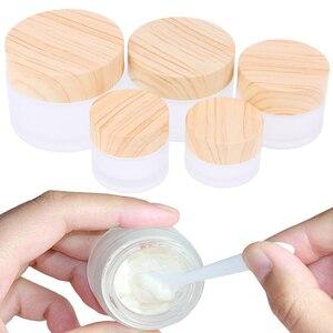 Image 2 - 1PCS 5g 10g 15g 30g 50g Gelo Bottiglia di Vetro di Plastica di Bambù Coperchio Vaso di Vetro vuoto Vasetto di Crema Bottiglia di plastica Contenitore di Imballaggio Cosmetico