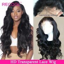 Recool HD прозрачный кружевной парик объемная волна Синтетические волосы на кружеве человеческих волос парики предварительно вырезанные бразильские Синтетические волосы на кружеве парик 150 180 250 плотность