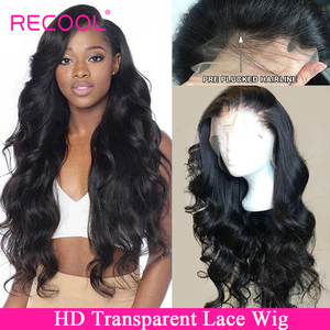 Recool HD Transparent Lace Wig Body Wave Lace Front Human Hair Wigs Pre Plucked Brazilian Lace Frontal Wig 150 180 250 Density(China)