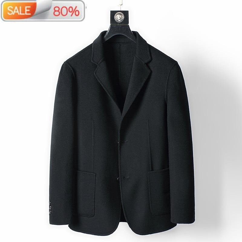 Men's Wool Coat Spring Autumn Black Double-sided Woolen Jacket Men Overcoat 2020 Casaco Masculino MC1AD337 B24291