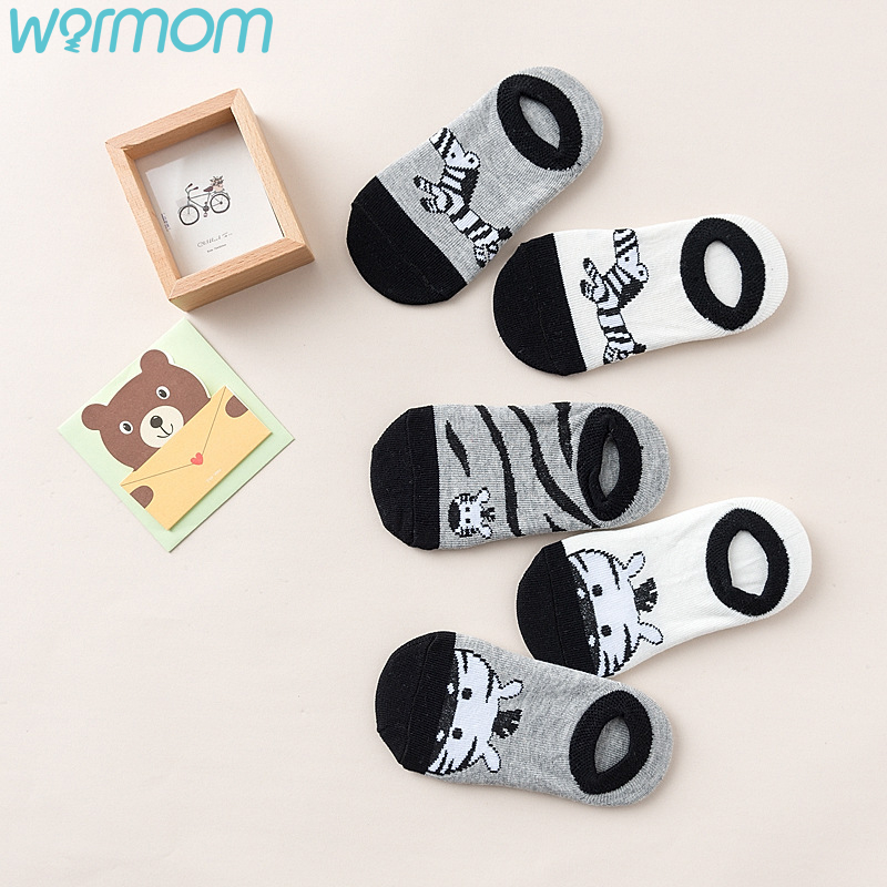 Short Socks Infant-Supply Printed Knitting Zebra-Pattern Cotton Cartoon Children 5-Pair