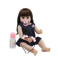 Muñeca de bebé Reborn de 55CM para niña, juguete de cuerpo completo de silicona, estilo de vida, muñecas BJD de ojos marrones con ropa, juguetes para niños, regalo