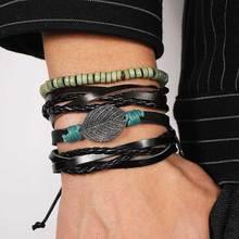 IFMIA, pulsera de hoja de cuero multicapa ajustable Vintage, joyería, abalorio de piedra de plumas, cuentas de madera, pulseras envolventes para mujeres y hombres