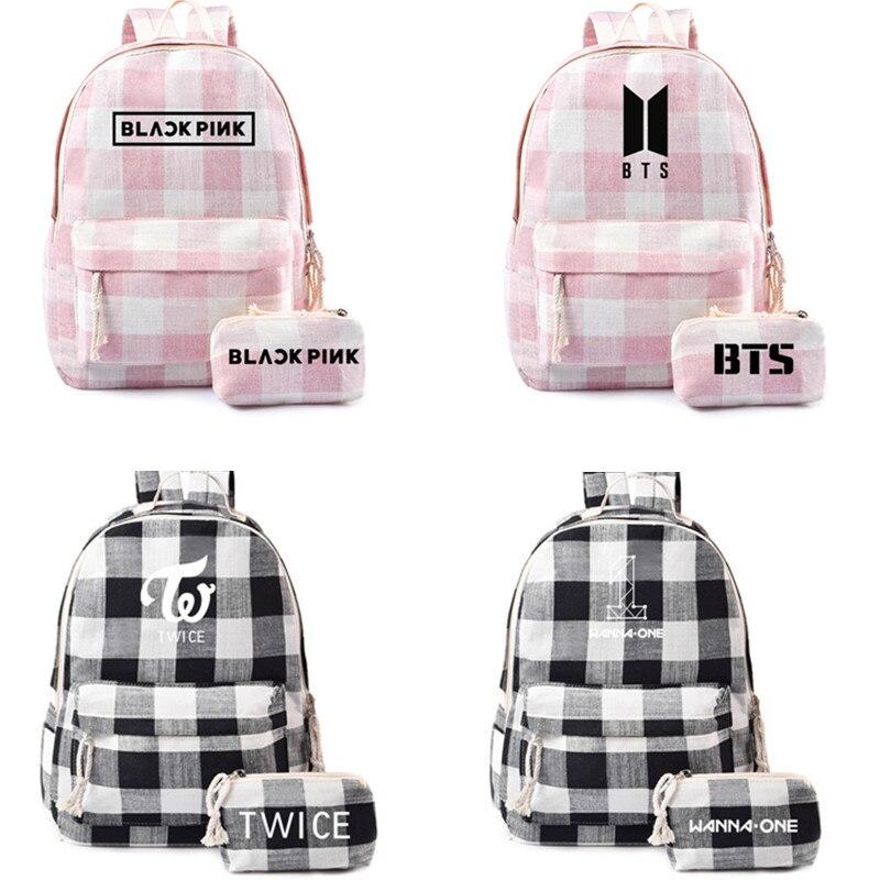 Korean Wave Combination BTS School Bag Black Pink Backpack Wanna ONE Schoolbag Pencil Case Two-Piece Set