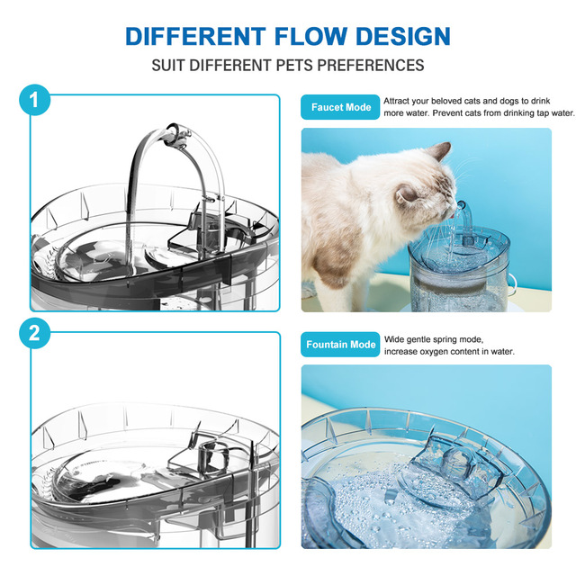 DownyPaws 2L Automatic Cat Water Fountain With Faucet Dog Water Dispenser Transparent Filter Drinker Pet Sensor Drinking Feeder 2