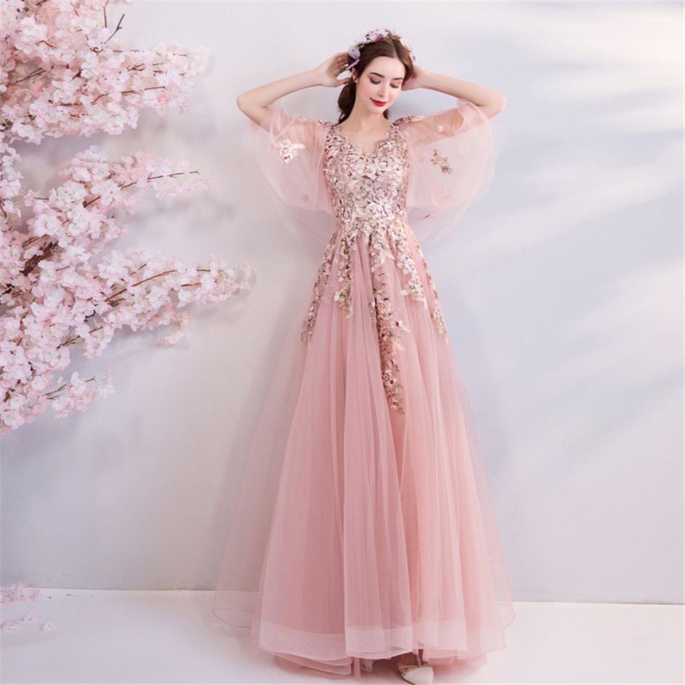 Deep Veck Sexy Women Beads   Prom     Dresses   Suzhou Embroidery Mesh Evening Gowns Crystals Fairy Pink Beautiful Vestido De Noche