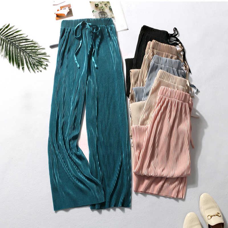 Pantalones De Pierna Ancha Para Mujer Pantalon Informal Elastico De Cintura Alta Holgado Largo Plisado De Verano 2019 Pantalones Y Pantalones Capri Aliexpress