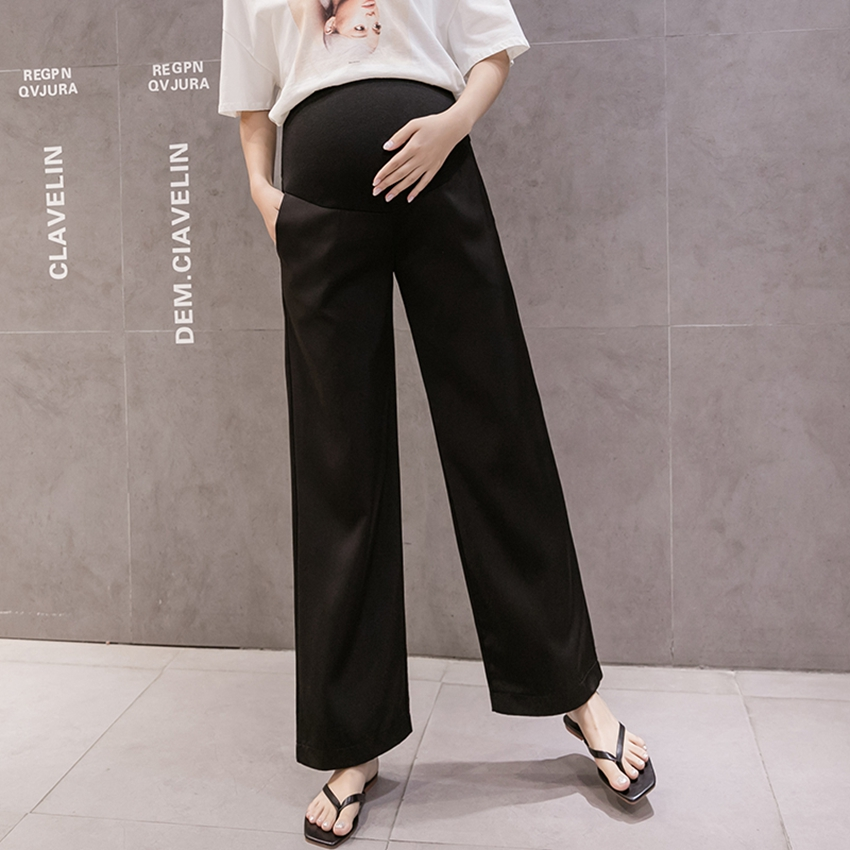 Pregnant Women's Wide-leg Pants Summer Ice silk Thin Loose Casual Wear Fashionable Belly Lift Pants tide Mom Pants