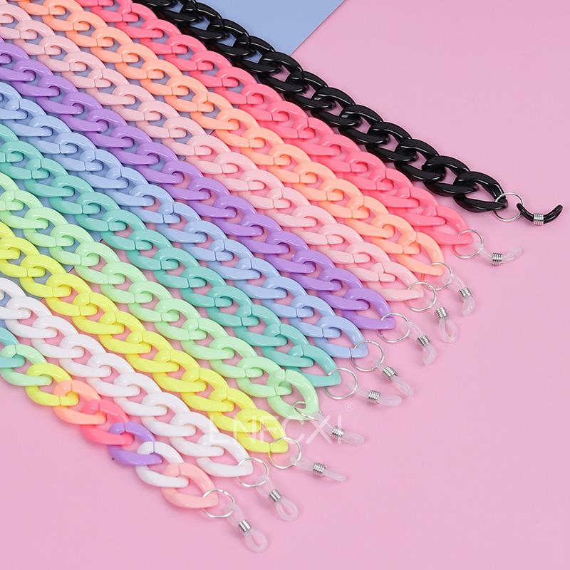 LNFCXI Retro Bright Acrylic Sunglasses Chain Straps Lanyards Transparent Color Reading Glasses Hanging Neck Glasses Chain