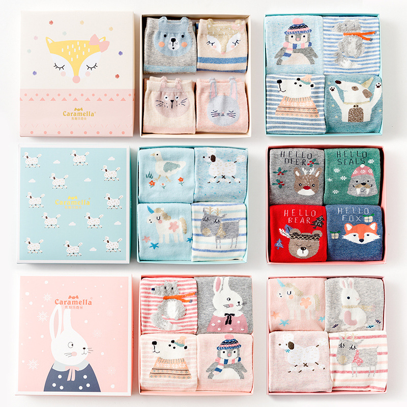 2018 New 4pairs/box 25cm Cotton Women/men Winter Lovely Animals Painting Short Socks Cute Tide Casual 514504-514634
