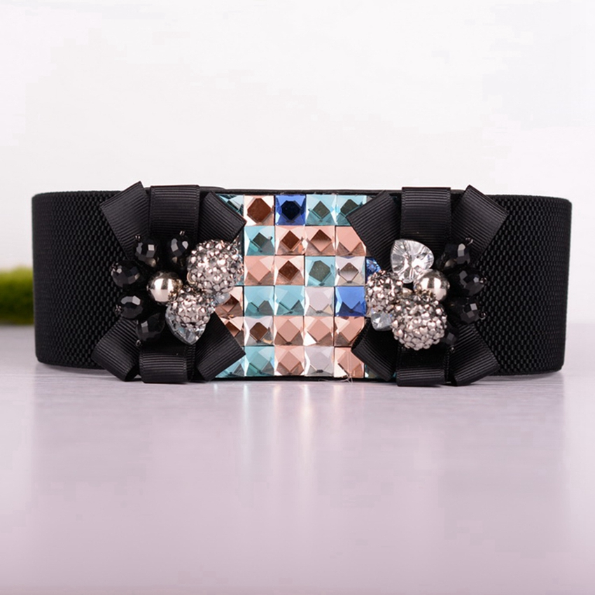 Elegant Women Elastic Waistband Vintage Stretch Waist Belt Crystal Flower Buckle High Waist Belts Elastische Riemen