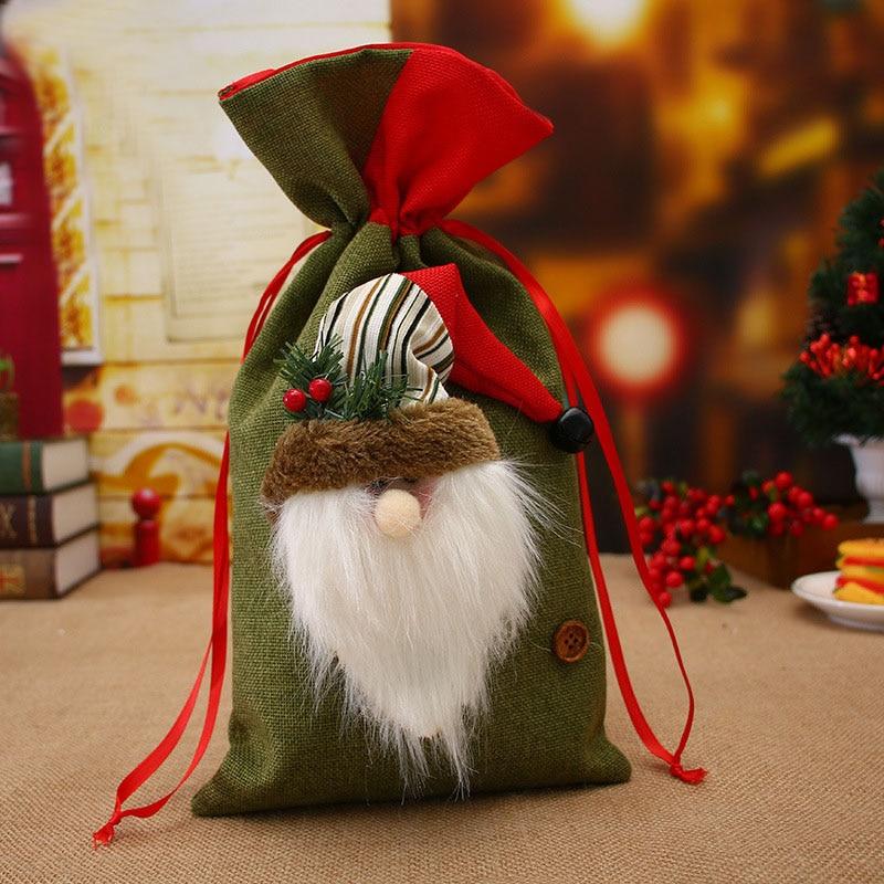 ETya Christmas Cotton Linen Storage Package Bag Drawstring Bag Travel Women Small Cloth Bag Christmas Gift Pouch