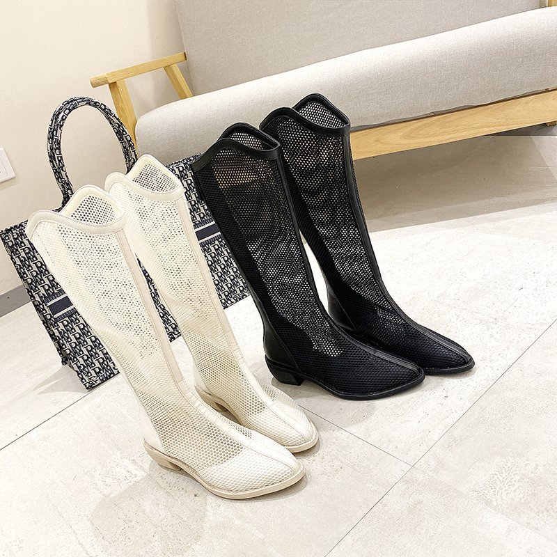 Mesh hollow long tube cool Boots New Baotou boots thick heel back zipper short tube cool BOOTS SANDALS x757