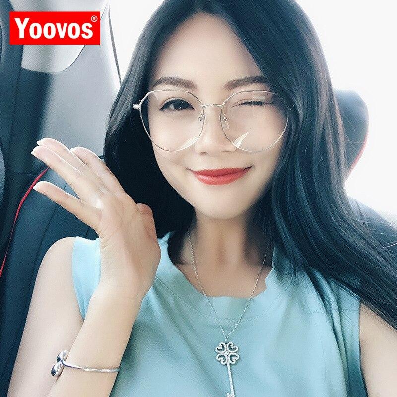 Yoovos женские круглые очки, синий светильник, винтажные большие очки с прозрачными линзами, роскошные оптические очки