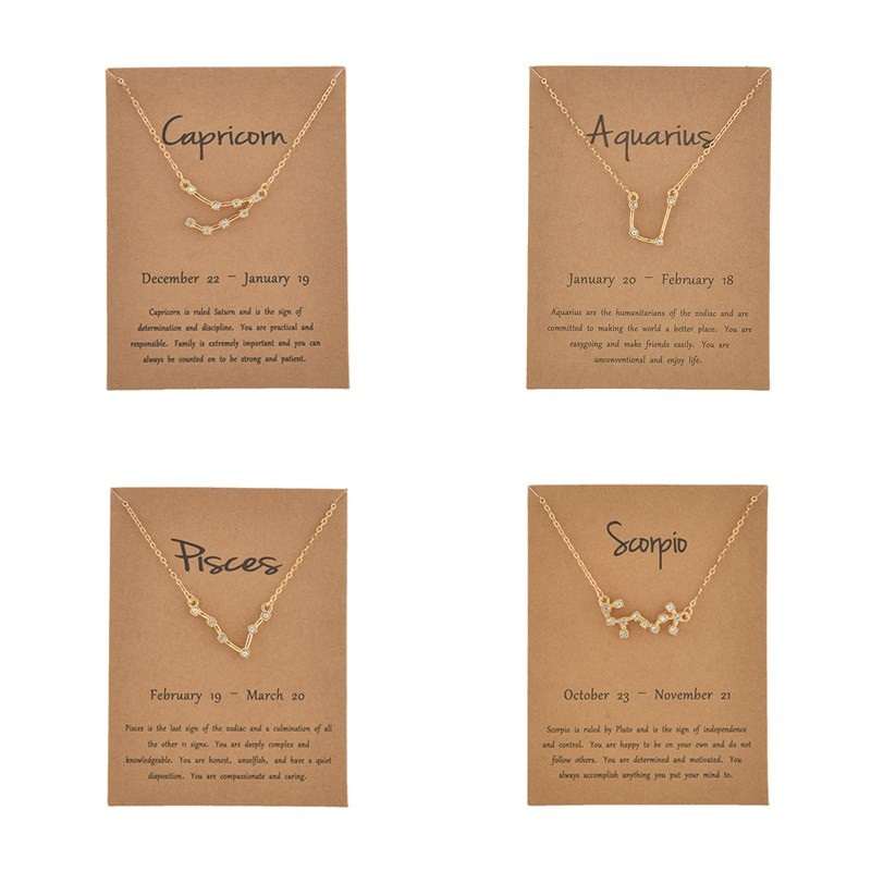 <font><b>12</b></font> <font><b>Constellation</b></font> <font><b>Pendant</b></font> <font><b>Necklace</b></font> for Women Star Aries Pisces Choker Gold Color Horoscopes <font><b>Zodiac</b></font> <font><b>Sign</b></font> <font><b>Necklace</b></font> Wish Card Collar image