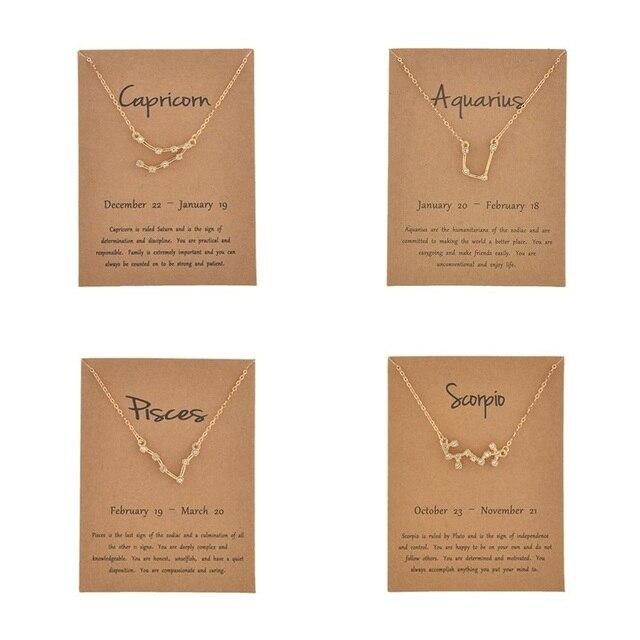 12 Constellation pendentif collier pour femmes étoile bélier poissons tour de cou couleur or Horoscopes signe zodiaque collier souhait carte collier
