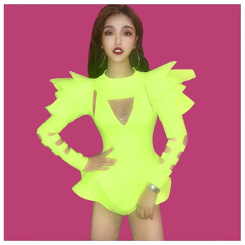 Crystals Jumpsuits 2 Colors Stage Leading Dancer Bodysuit Nightclub Show Bar DJ Stage Wear Dance Team Jazz Performance Costume