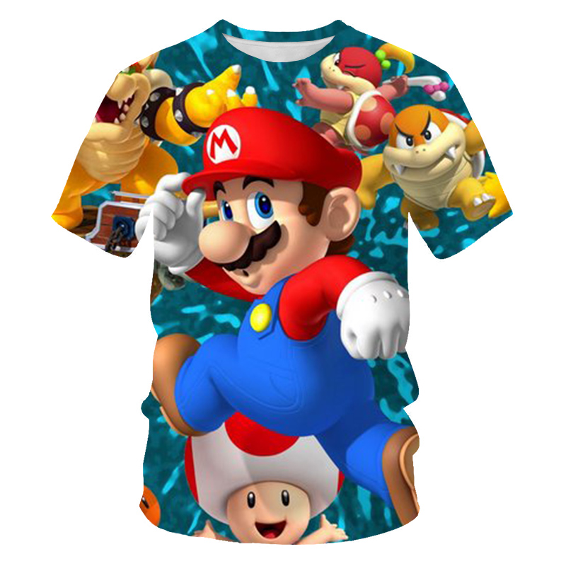 Summer Funny 3D Printed Super Mario Children T-shirt Short sleeve Kids Cartoon boy/girl T-shirts Costume Clothing Kids Tees 1