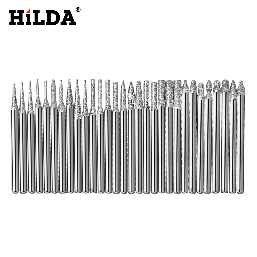"HILDA 30pcs Diamond Burr Bits Set For Dremel Rotary Tools 1/8"" 150 Grit Dremel Accessories For For Engraving Carving Tools"