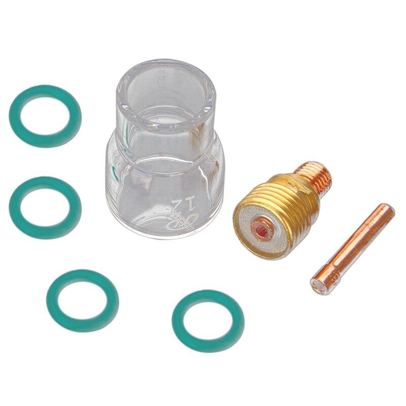 ABSF 7 sztuk/zestaw #12 kubek ze szkła Pyrex zestaw Stubby tuleje zaciskowe soczewka gazowa Tig palnik do spawania dla Wp-9/20/25 akcesoria spawalnicze