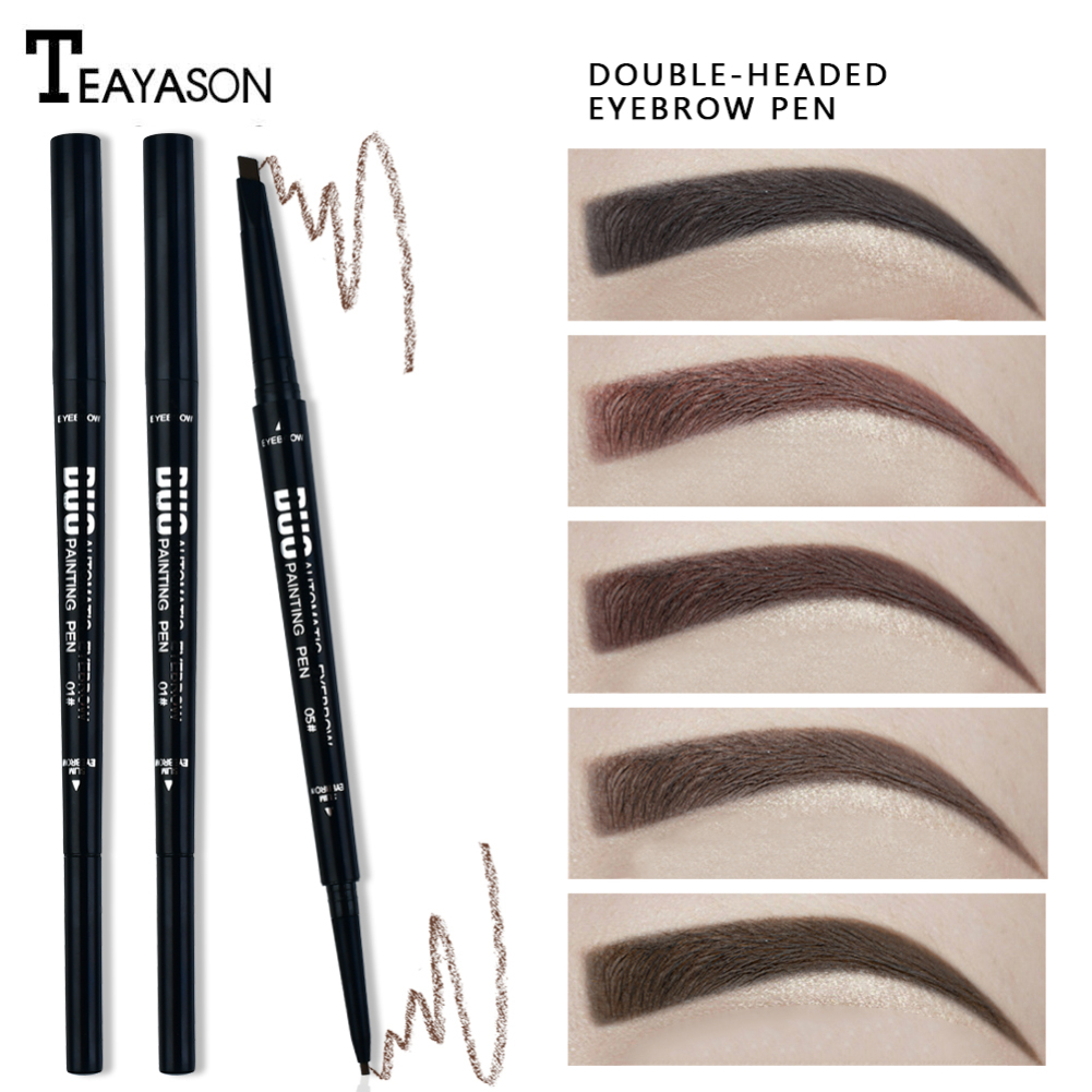 5 Color Double Headed <font><b>Eyebrow</b></font> Pencil Ultra Fine 1.5mm Eye Brow <font><b>Tatoo</b></font> Tint Cosmetic Brown Black Waterproof Make Up Cosmetic TSLM2 image