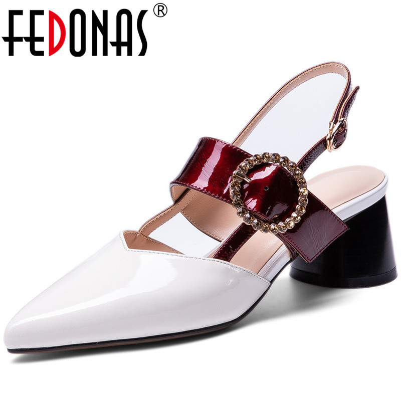FEDONAS Cow Patent Leather Spring Summer Rhinestone Slip On Women Pumps Sweet Party Wedding Point Toe Thick Heeled Shoes Woman