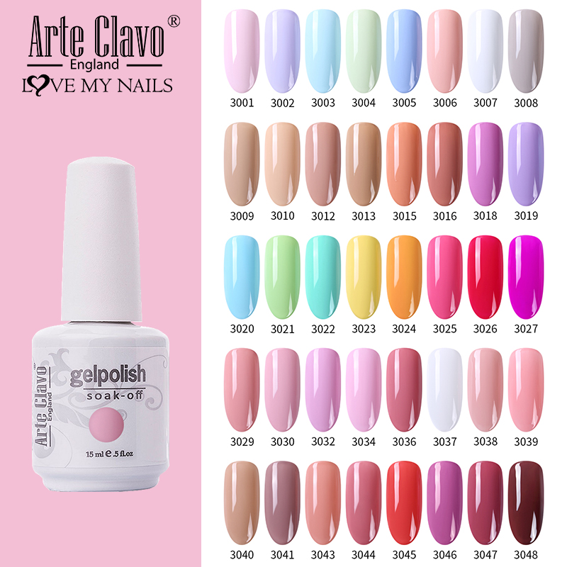 Arte Clavo 15ML Nail Gel Summer Series Colorful Soak Off UV Gel Varnish For Nails Semi Permanent Nail Art Glue Gel Lacquer
