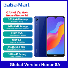 הגלובלי גרסת כבוד 8A 6.09 אינץ אנדרואיד 9.0 13MP + 8MP 2GB + 32GB MT6765 אוקטה ליבות 3020mAh פנים סמארטפון 4G Smartphone