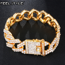цена на Gold 19MM Bling Heavy Iced Out Cuban Link Chain Full AAA Crystal Pave Men's Bracelet Bracelets for Men Hip Hop Jewelry