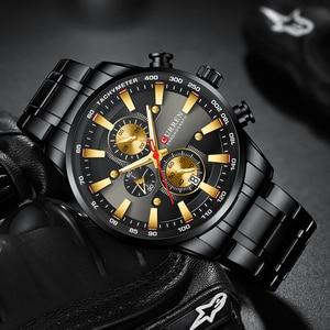 Image 3 - New Chronograph Quartz Mens Watch CURREN Stainless Steel Date Wristwatch Clock Male Luminous Watches Relogio Masculino