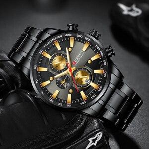 Image 3 - Nieuwe Chronograaf Quartz Horloge Curren Rvs Datum Horloge Klok Mannelijke Lichtgevende Horloges Relogio Masculino