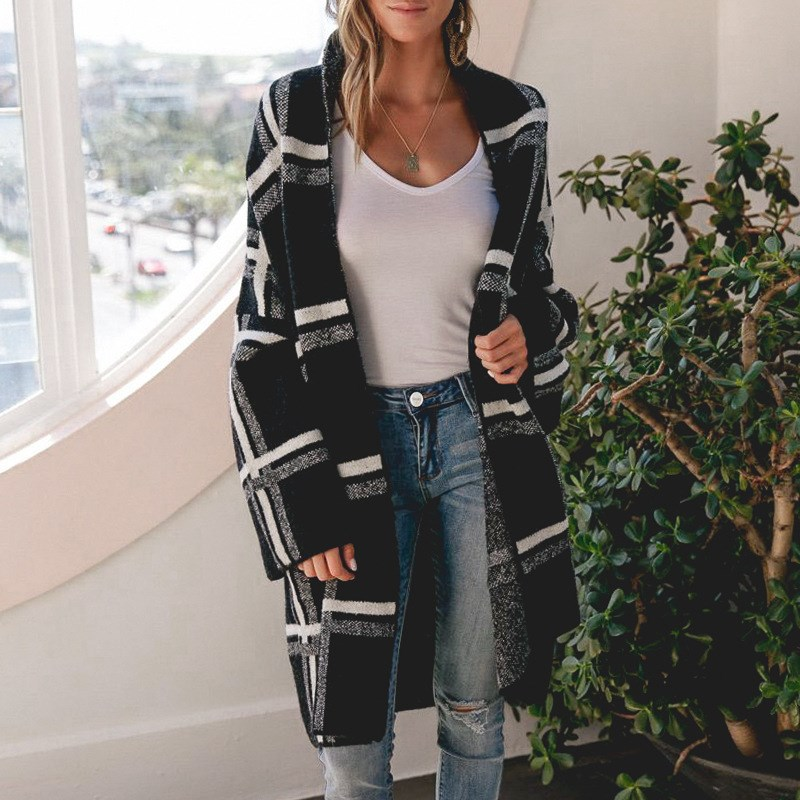 Fashion Women Black Plaid Sweaters Cardigan Casual Knitted Sweater Pockets Long Sleeve Women Knitted Long Coat