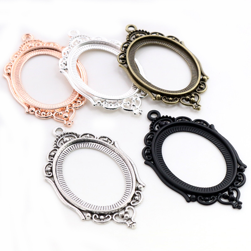 New Fashion 5pcs 30x40mm Inner Size 5 Colors Hollowing Pierced Style Cabochon Base Setting Charms Pendant