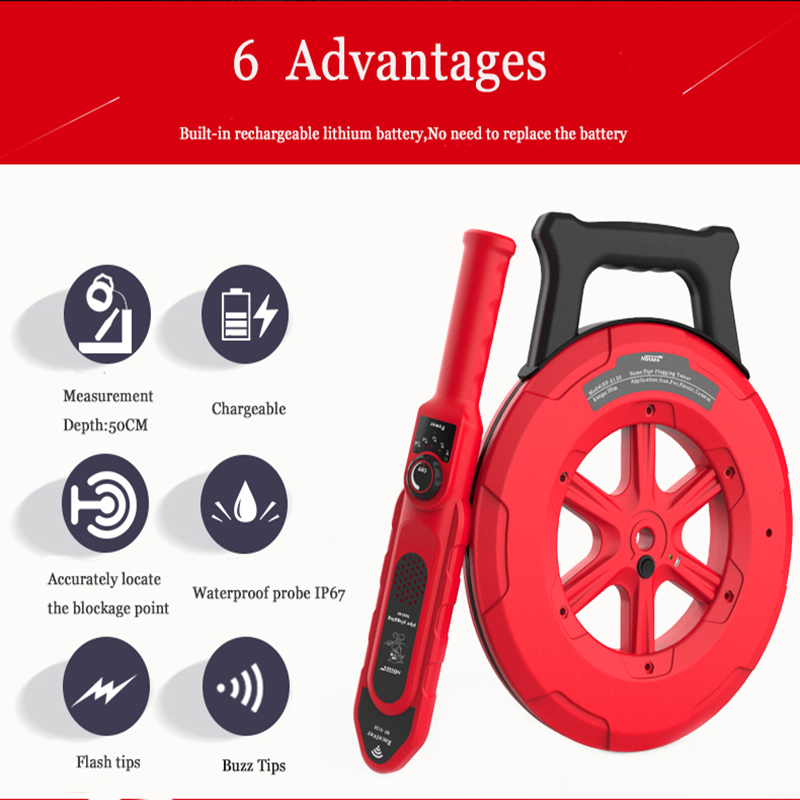 NOYAFA Wall PVC Iron Pipe Blockage Detector NF-5130 Wall Pipe Blockage Detector Pipe Blocking Clogging Scanner Plumber Tool