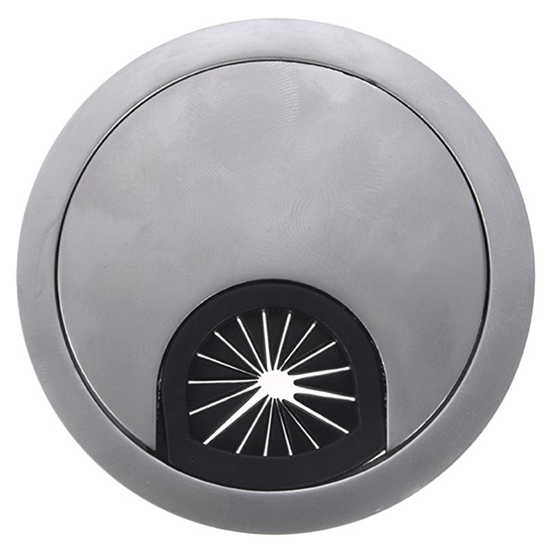 New-Metal Round Computer Desk Grommet Cable Port Wire Hole Cover 60mm Silver Tone