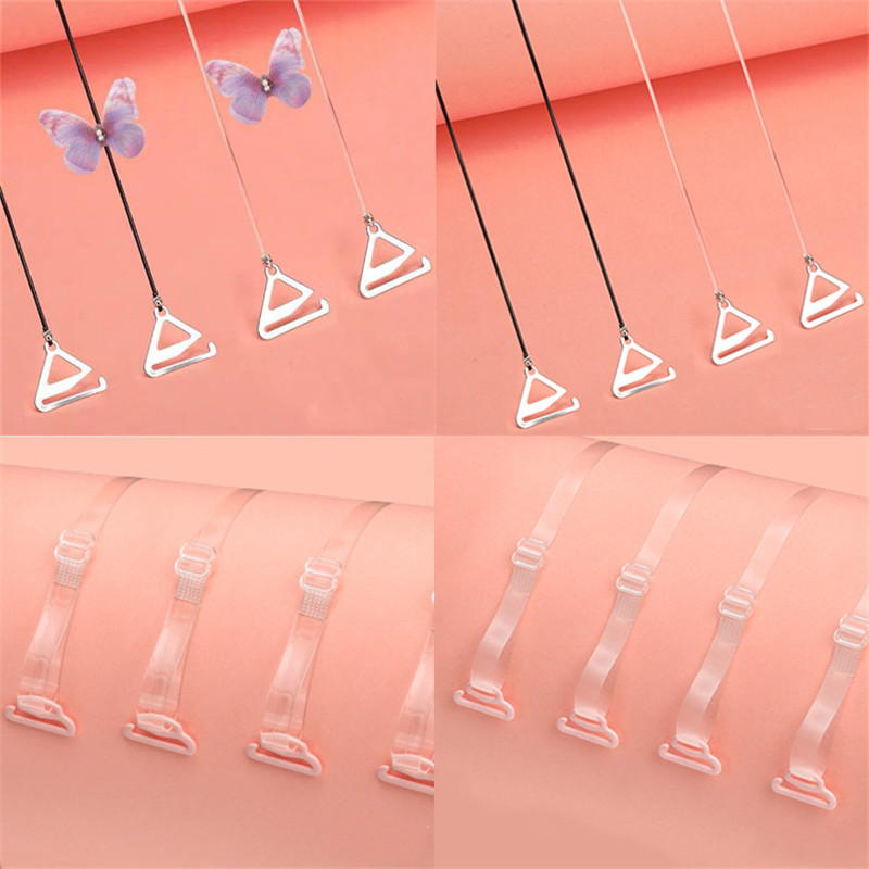 Anti-slip Super Invisible Transparent Clear Bra Strap Shoulder Tape With Elastic Rope For Women Girl