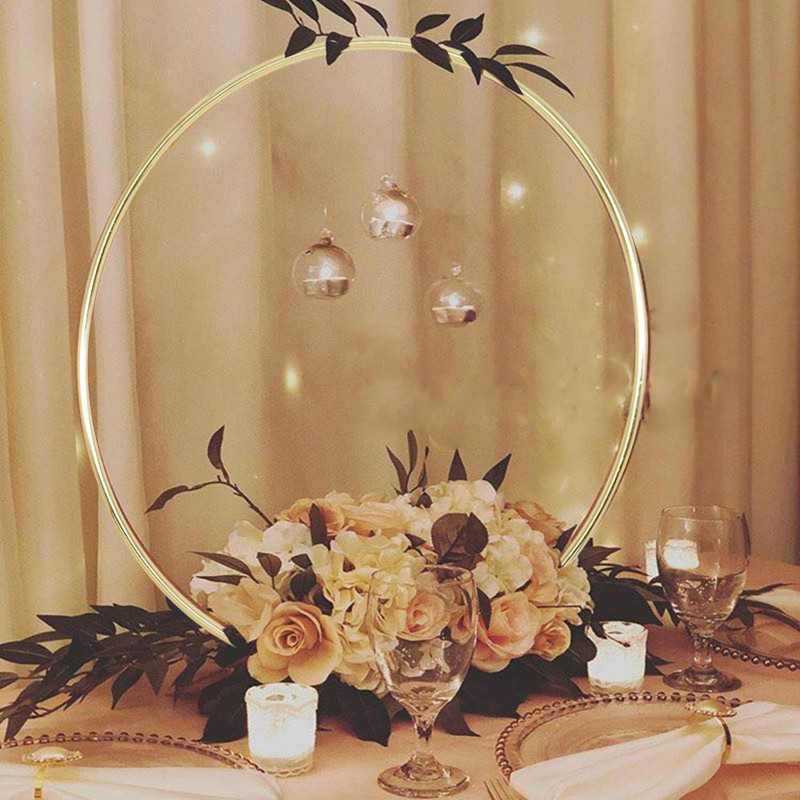 10-40cm Wedding Wreath Gold Iron Metal Ring Portable Garland Garland Bride Wreath Artificial Flower Rack Catcher Hoop Decor