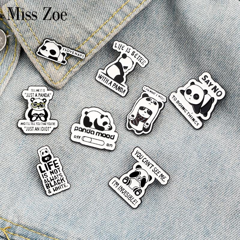Panda Rolling Enamel Pin Custom Panda Quote Brooches Badge for Bag Lapel Pin Buckle Fun Animal Jewelry Gift for Kids Friends 1