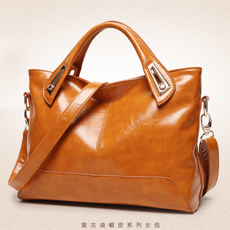 Handbag Single-Shoulder New-Fashion Women Oil-Wax Goods Simple