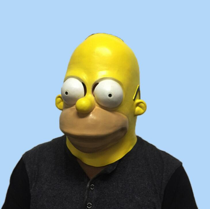 The Homer Simpsons Latex cosplay Mask Halloween Cosplay for men fancy party full face funny mask adult carnival prop