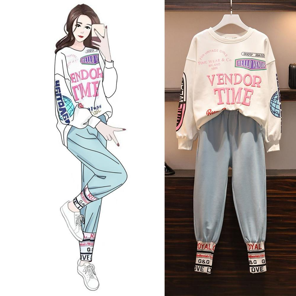Fashion Spring Women Two Pieces Set Long Sleeve Tops And Pants Suit Letters Print Casual Hip Hop Lady Tracksuits Plus Size L-4xL