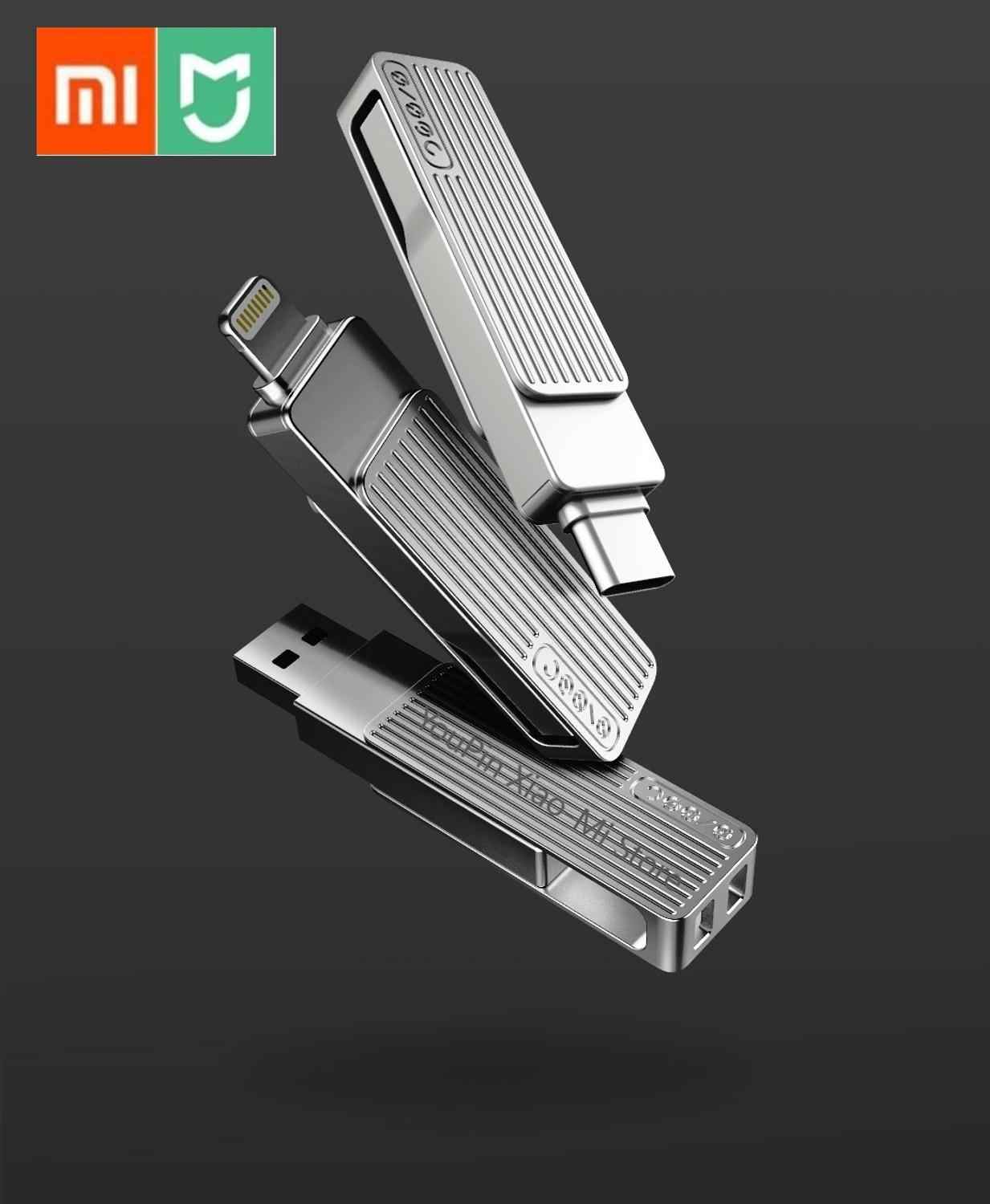 Xiaomi Jessis U Disk 32GB 64GB 128GB Recorder Type-C Dual USB Flash Drive OTG USB 3.1 USB Stick Voor Telefoon Tablet PC MAC