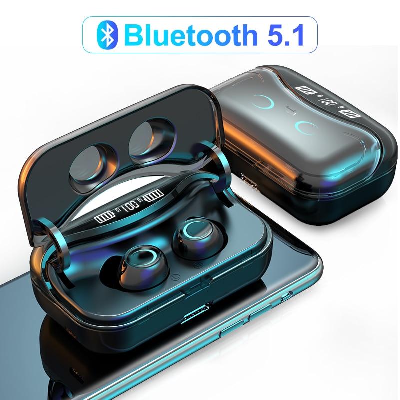 G08 Bluetooth 5,1 наушники с сенсорным управлением, беспроводные наушники HiFi IPX7, водонепроницаемые наушники-вкладыши, гарнитура светодиодный свет...