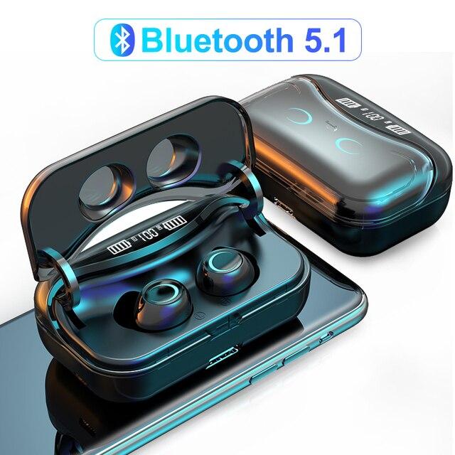 G08 Bluetooth 5.1 אוזניות מגע שליטה אלחוטי Headphons HiFi IPX7 עמיד למים אוזניות אוזניות עם LED תצוגת טעינת תיבה