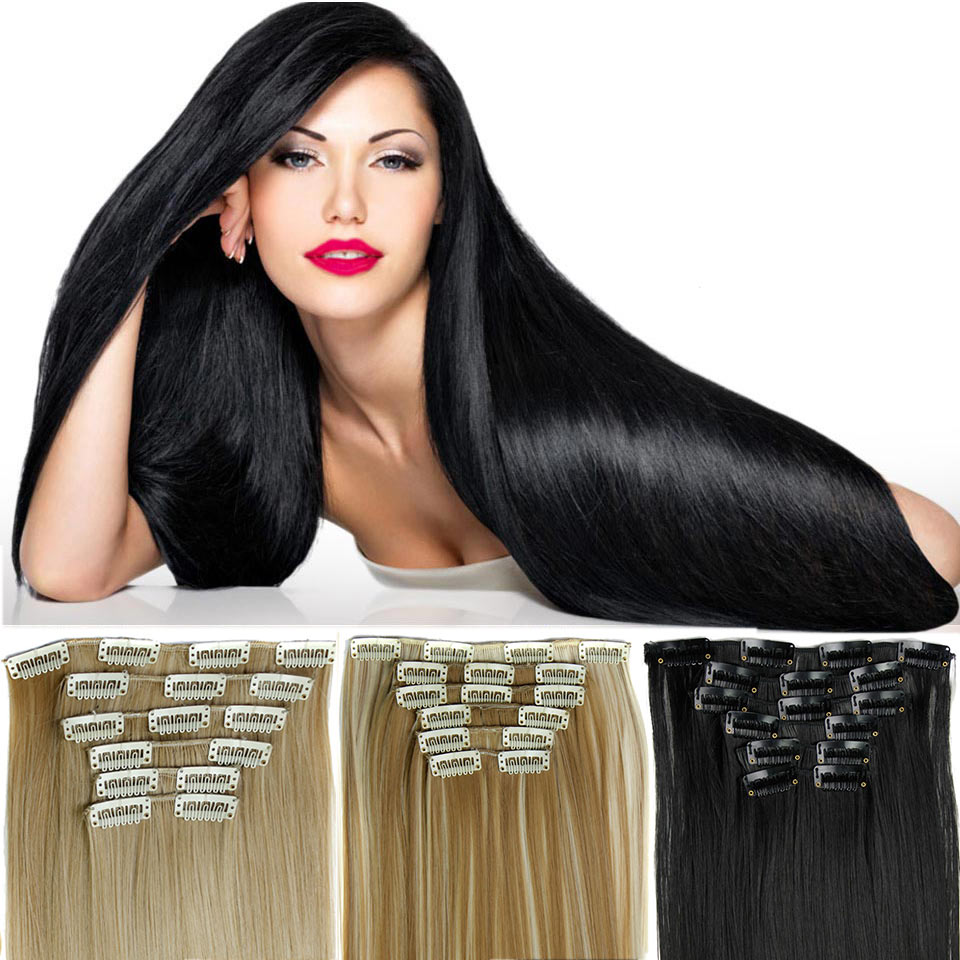 MEIFAN 24Inch Long Silky Straight Hairpieces 6pcs/set with 16 Clip in Hair Extensions Heat Resistant Synthetic Hair Pieces