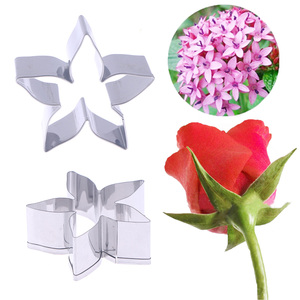 DIY Stainless Steel Cookie Cutter Rose Flower Leaves Biscuit Fondant Cake Mould Icing Cookie Mold Starry Flower Pastry Tool