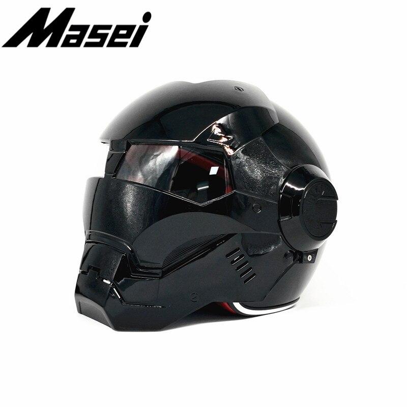 Masei 610 Iron Man helmet motorcycle Vintage Retro helmet half helmet open face helmet casque Motocross Off Road Touring helmet in Helmets from Automobiles Motorcycles