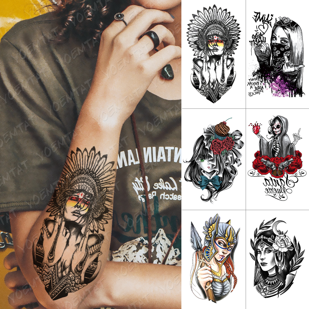 Waterproof Temporary Tattoo Sticker Indian Feather Tribal Cool Girl Flash Tattoos Old School Body Art Arm Fake Tatoo Women Men